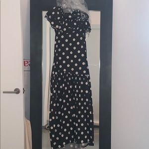 Caroline constas one shoulder gown polka dot